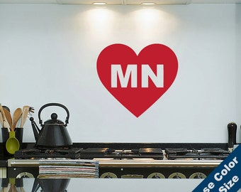 I Heart Minnesota Wall Decal - Love Sticker - Free Shipping