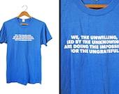 Vintage 80s We The Unwilling T-shirt Konstantin Josef Jireček Screen Stars - Small
