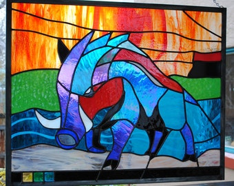 Wild Boar in Jewel Colors Stained Glass Window Panel   Nature Series