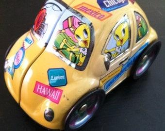 Looney Tunes beetle tin, car tin, VW tin