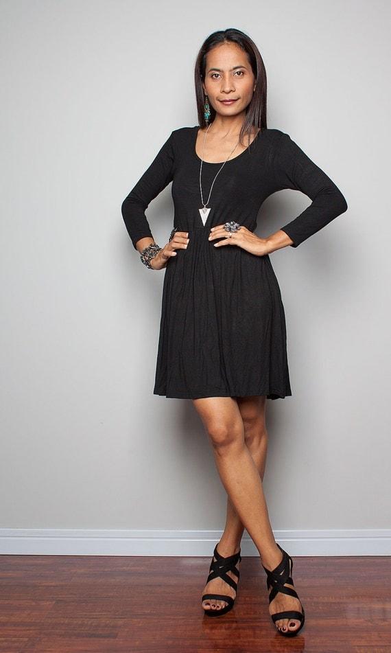 Short Black Dress Long Sleeves Casual Black Dress  Kiss-1632