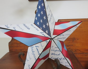 Large Barn Star with Names of Jesus - Patriotic Red, White and Blue - Large Flag - 12 inches