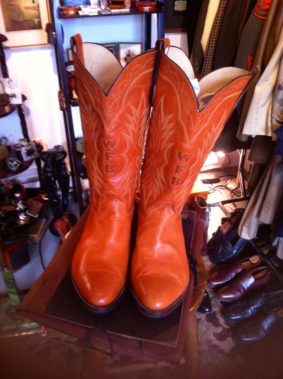vintage mens big dude cowboy boots size 17 by kingpinonetsy
