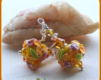 Lampwork Earrings, Yellow Earrings, Floral Earrings, Beaded Earrings, Dangle Earrings,Beadwork Earrings,Glass Earrings -PRIMROSE -