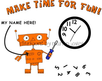 2017 Resolutions To-Do List Funny Orange Robot with Screwdriver and Wall Clock