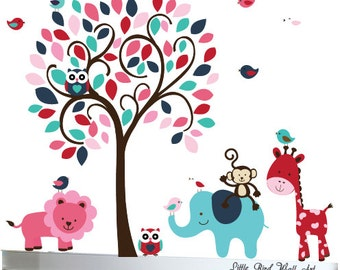 Baby wall decal red blue and pink tree decal jungle animals decals - 077