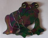 Stained Glass Frog Suncatcher, Hippie Toad, Gift for Frog Lover