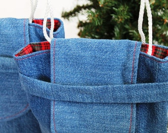 Christmas Plaid Gift Bags Reusable Upcycled Denim Small Gift Tote Vintage Red Green Holiday Wrapping (set of 2) --US Shipping Included