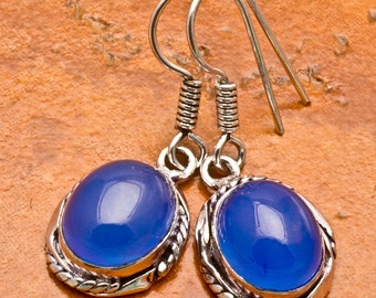 Natural Blue Chalcedony silver plated earrings  (#J68)