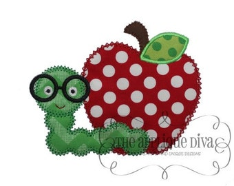 Back to School Worm Apple Digital Embroidery Design Machine Applique