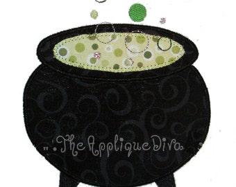 Halloween Cauldron Embroidery Design Machine Applique