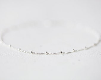 Delicate Sterling Silver Bracelet - simple and delicate beaded sterling silver satellite chain, simple everyday jewelry