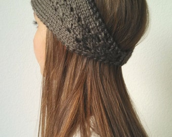 Knit Earwarmer Headband  Headwrap - The ELLE  -TAUPE - (more colors available)