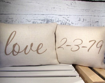 Date and love burlap pillow set - special day, off white burlap handpainted in taupe
