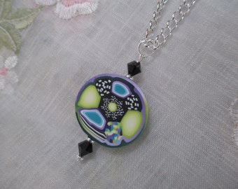 Purple and Lime Green Polymer Clay Pendant Necklace