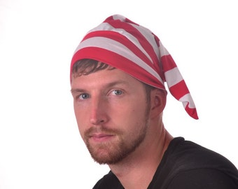 Pirate Hat Red White Striped Night Cap Cotton Sleep Hat Mens Hat