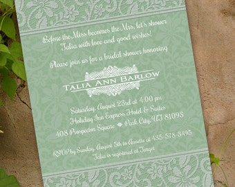 wedding invitations, bridal shower invitations, sage wedding invitations, sage bachelorette invitations, sage party invitations, IN217.1