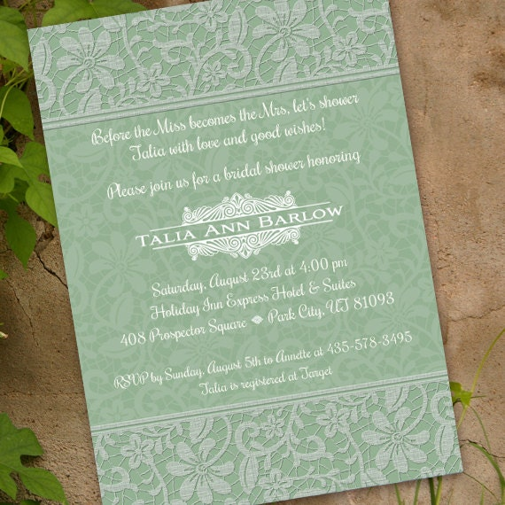 wedding invitations, bridal shower invitations, sage wedding invitations, sage bachelorette invitations, sage party invitations, IN217.1