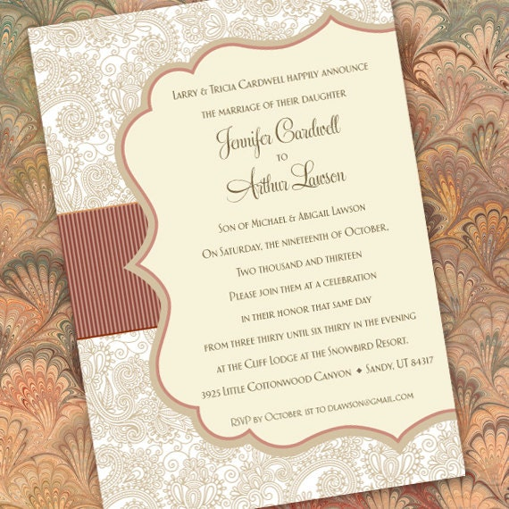 wedding invitations, ivory wedding invitations, rose and tan wedding invitations, ivory bridal shower, taupe damask wedding, IN222.3