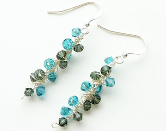 Blue Grey Earrings Sterling Silver