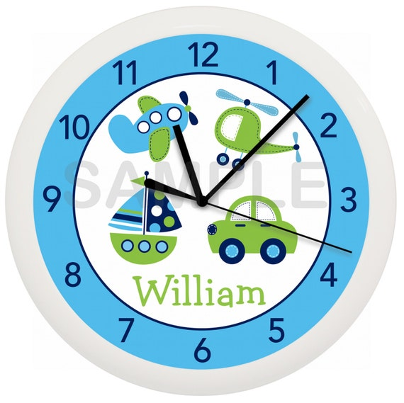 Personalized Transportation Car Nursery Wall Clock for Boy's Nursery or Bedroom