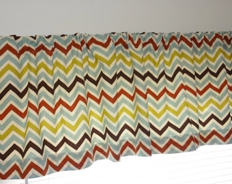 SALE Curtain Valance Topper Window Treatment 52x15 Blue Brown Rust Citrine Zig Zag Chevron Valance