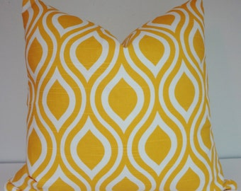 Yellow White Geometric Pillow Cover Decorative Throw Pillow 18x18