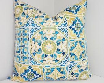 OUTDOOR Deck Patio Pillow Cover Mosaic Print Blue Yellow Green Outdoor Pillow Cover 18x18