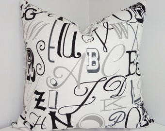 Black & Grey Alphabet Print Pillow Covers Decorative Throw Pillow Covers Childrens Pillow All Sizes