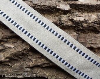 """Wired Ribbon, 1 1/2"""" wide, Black White Check Stripe Cotton Burlap, Linen Look  - THREE YARDS  - May Arts, Craft Wire Edged Ribbon"""
