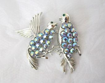 1960's Coro Rhinestone Brooch, two birds, doves, aurora borealis, AB, Excellent
