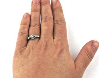 Antique Art Deco Platinum Diamond Engagement Ring, 1/2CT Antique Mine Cut Diamond Platinum Engagement Ring Unique Wedding Ring