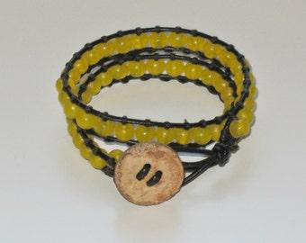 Yellow beaded Wrap bracelet