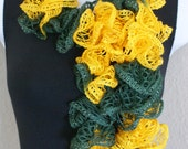 """Ruffle lace soft scarf hand knit GREEN YELLOW with silver shiny +60"""" long team colors"""