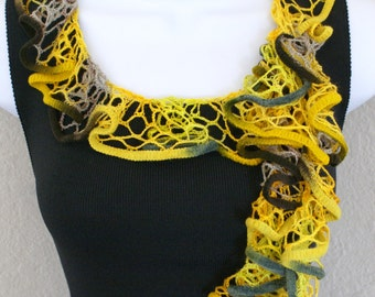 Ruffle scarf handmade  crochet lace and soft YELLOW and GREEN scarf or belt for spring and summer
