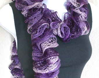 Ruffle lace soft scarf hand knit  purple lavender multicolored 60 inches long