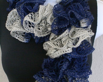 "Ruffle lace soft scarf hand knit NAVY BLUE GRAY with silver shiny +60"" long  team colors"