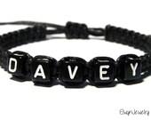 Name Bracelet, Black Cord Bracelet, Personalized Bracelet, Macrame Bracelet, Boy Bracelet, Mens Jewelry, Boy Gift, Mens Gift, Kid Bracelet