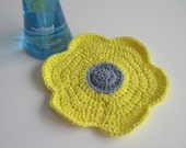 Crochet Flower Cotton Dish Cloth - Denim Blue and Yellow Dishcloth