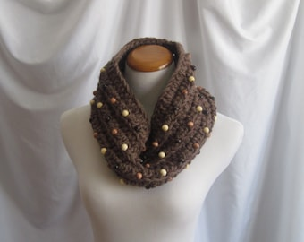 Cowl Beads Chunky Bulky Crochet Cowl:  Brown with Wood Bead Accents