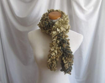 Boa Scarf Curly Crochet - Shades of Off White, Tan and Gray - Super Soft