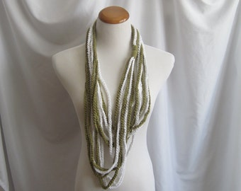 Infinity Crochet Scarf Cowl Cotton Necklace - Olive Green and White