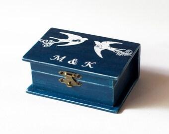 Wedding Ring Box Navy Blue Ring Bearer Box Wedding Box Personalized Ring Bearer Box Nautical Ring Box Green Artificial Grass Ring Holder