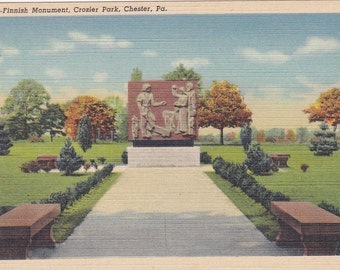 Chester, Pennsylvania, Finnish Monument, Crozier Park - Linen Postcard - Unused