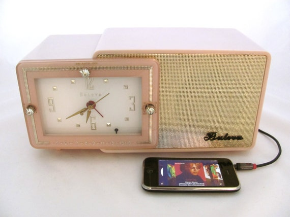 Bulova Clock Radio iPod Ready Restored Pink Model 100