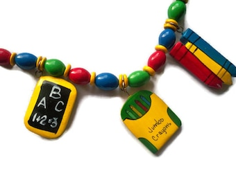 Vintage Wood Crayon and Chalkboard Necklace - Primary Colors - Chunky Funky Retro Teacher School Wear - Back to School