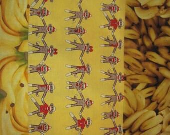 "14"" x 14"" PILLOW COVER - Vintage Sock Monkeys Stuffed Animal Family at Banana Vegan Picnic"