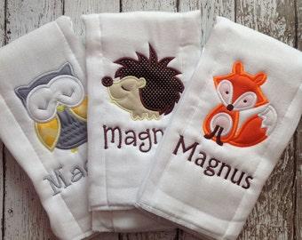 Set of 3 Personalized Burp Cloths - Diaper Cloths - Baby Boy - Monogrammed - Gift Set - Fox