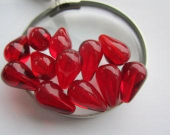 18x11 Preciosa Ruby Czech Glass Teardrop Beads 10Pcs.