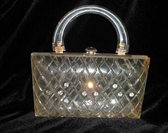 Vintage Lucite Purse / 1950's / clear / diamond cut pattern